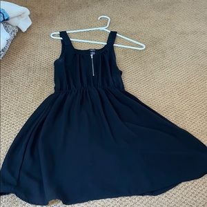 Black dress with front zipper